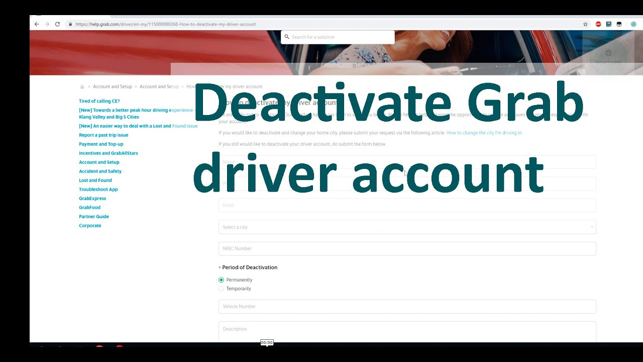 how to deactivate grab driver account