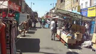 Walking through Chapel Street Market, Angel, Islington, London - on market days