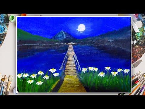 Landscape painting | Flower and Bridge | Moonlight  night landscape |Time laps