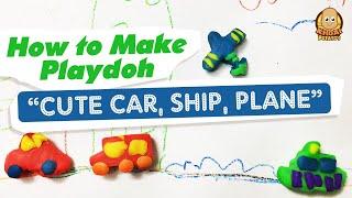 Kid plays Play Doh Car, Plane, Ship handmade very cute
