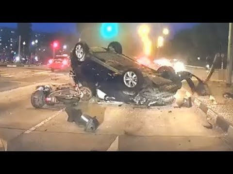 Car Flipped Over Motorcycles Unable To Dodge It Singapore