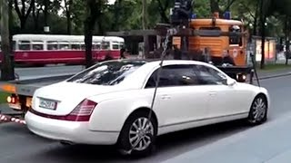 Maybach 62S too heavy for tow truck crane - EPIC FAIL