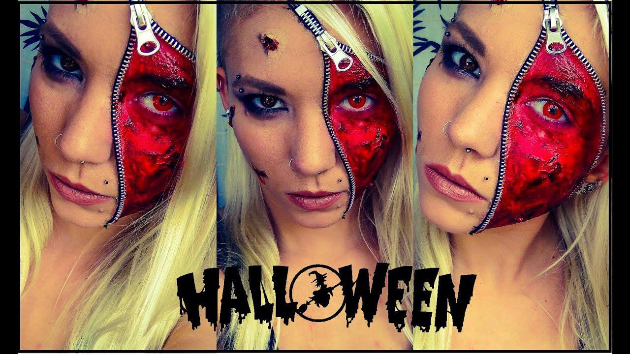 Zipper Face | Halloween Makeup - YouTube
