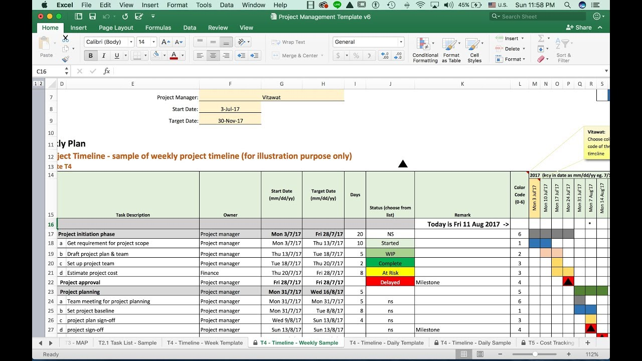 t4 weekly project timeline template vdo training youtube