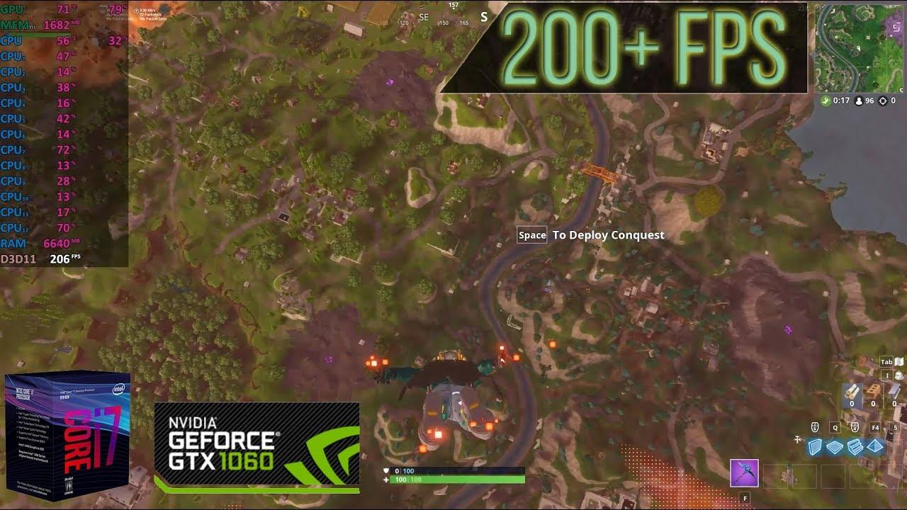 Fortnite | i7-8700 | GTX 1060 3GB | Low + High +Epic Preset | 200+ FPS