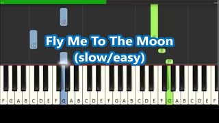 Frank Sinatra Fly Me To The Moon Slow Easy Piano Tutorial