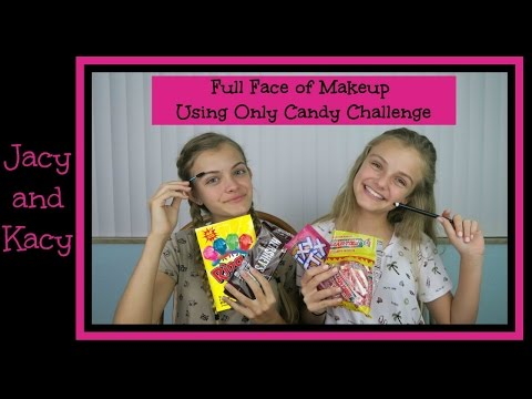 Full Face of Makeup Using Only Candy Challenge ~  Jacy and Kacy