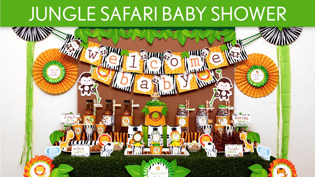Jungle safari baby shower party ideas jungle safari for Baby shower party junge