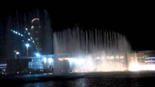 Burj khalifa water dancing on 2 Dec 2014