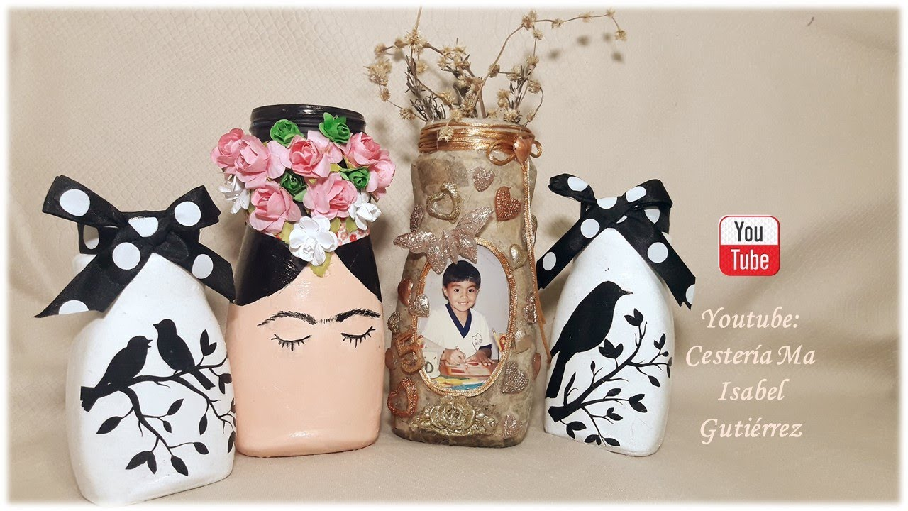 Tres Bellas y fáciles ideas con frascos de vidrio del café. Crafts with glass jars
