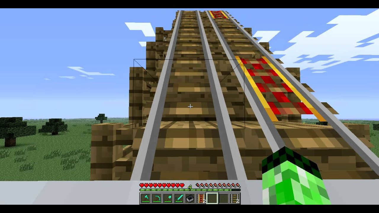Minecraft Wooden Launched Roller Coaster Rollback And Relaunch - Minecraft pocket edition hauser download