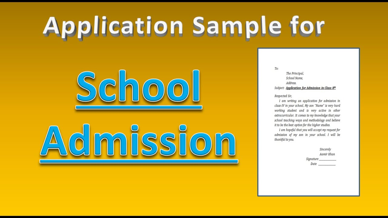 Write an application for Admission in School for Class 16th
