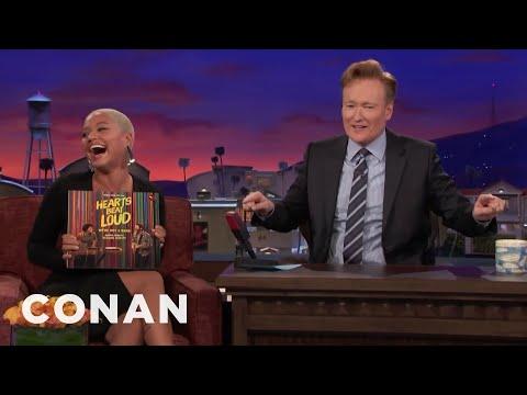 Kiersey Clemons Accidentally Reads Conan's Cue Card  - CONAN on TBS