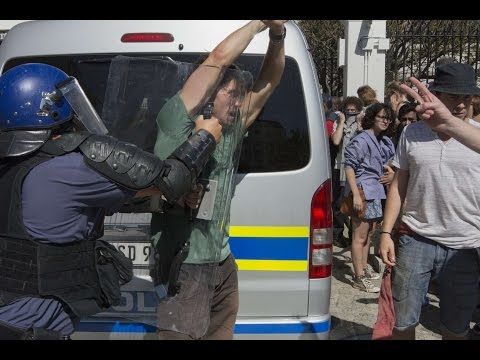 South African police, students clash outside parliament