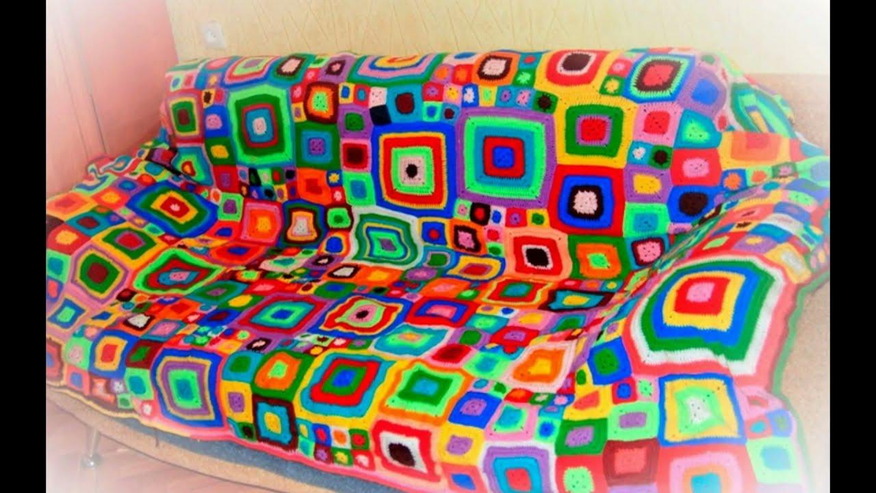 плед на диван связать схема