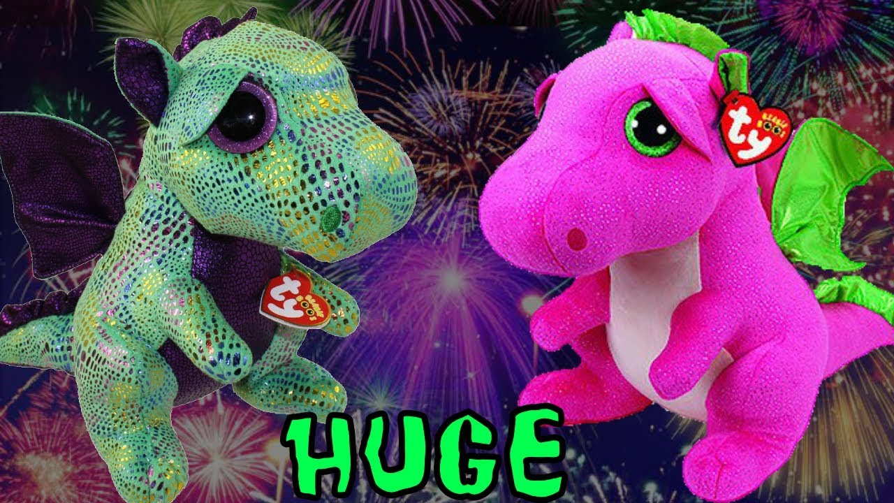 Giant Beanie Boo toy Dragons Cinders and Darla wow they re SO HUGE ... 55d54e286f92