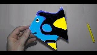 Как сделать оригами рыбку Дори из бумаги А4 своими руками?