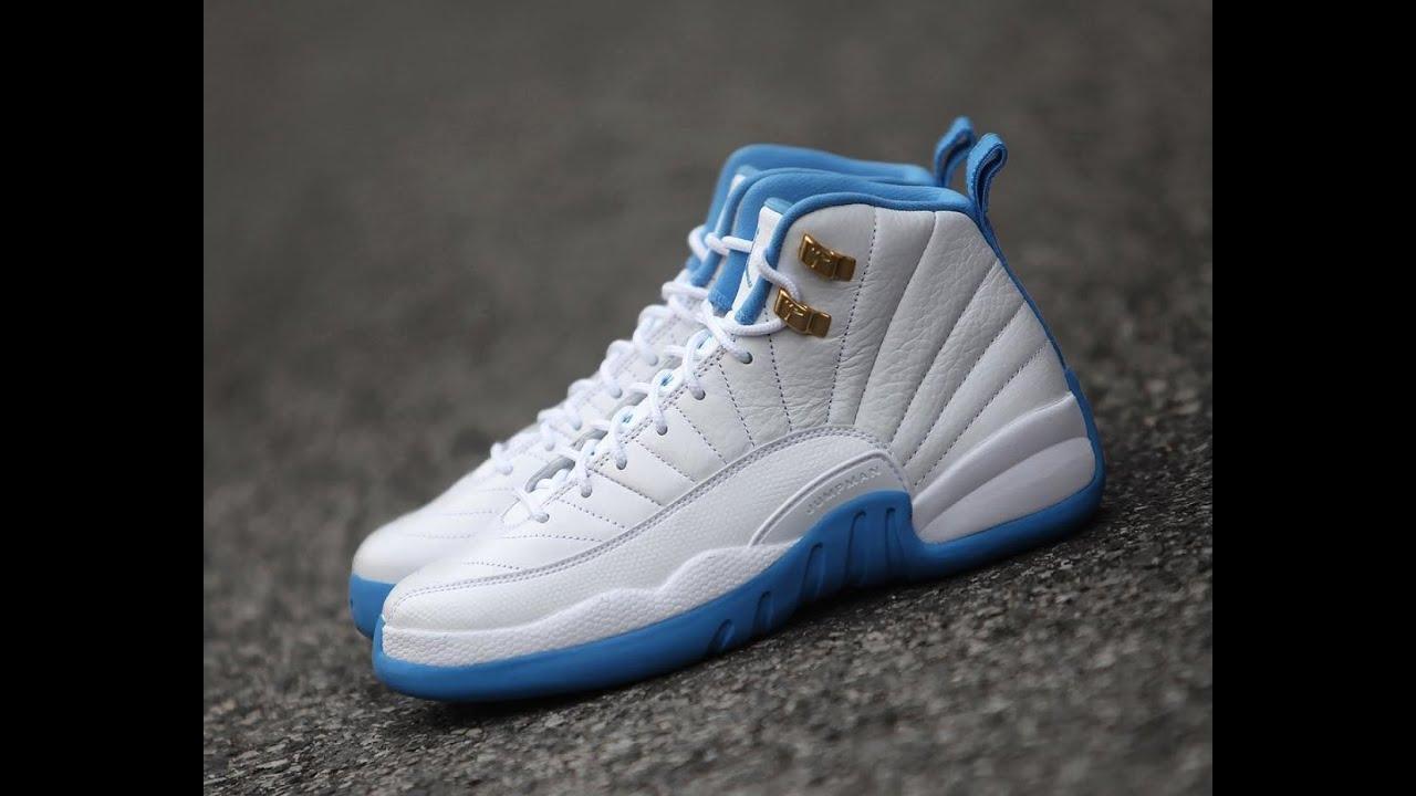 2016 Air Jordan 12 GS White University Blue Melo Shoes