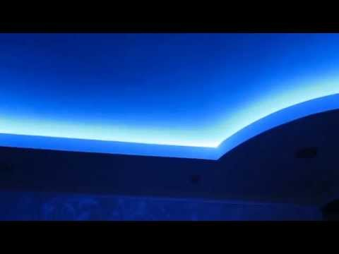 Подвесной двухуровневый потолок со скрытой подсветкой