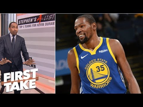 Stephen A gives his top 5 teams Kevin Durant should go to in free agency  First Take