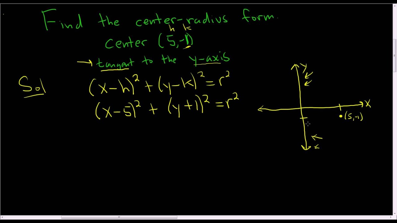 Finding The Centerradius Form Of A Circle Given The Center And A Tangent  Line