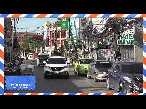 Koh Samui – Drive from Bang Rak market to Chaweng Beach Road, North – songthaew taxi