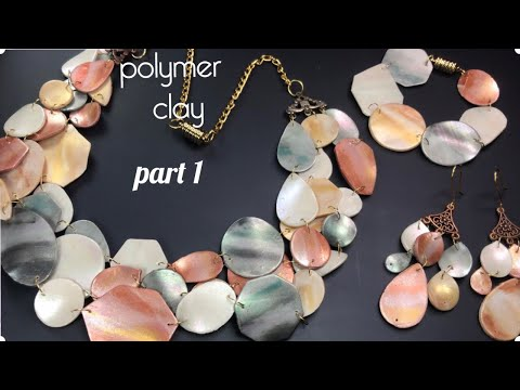 DIY.POLYMER CLAY FAUX  SHELL MOTHER OF PEARL JEWELRY MODER DESIGN . PART 1