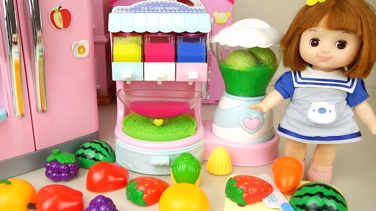 Baby Doli fruit and food color learning and baby doll Ice Cream shop