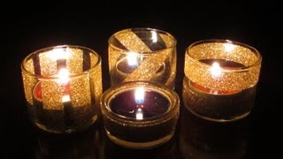 DIY Glittery Goodness- Upcycled Votives and Sparkly Cup