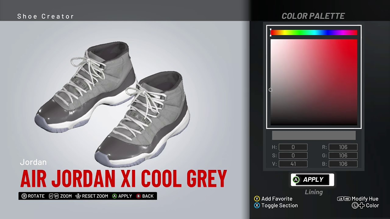 8bd6d1a7bd47 NBA 2K19 Shoe Creator - Air Jordan 11
