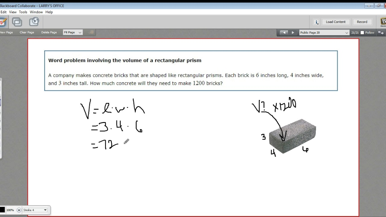 Word Problem Involving The Volume Of A Rectangular Prism Youtube
