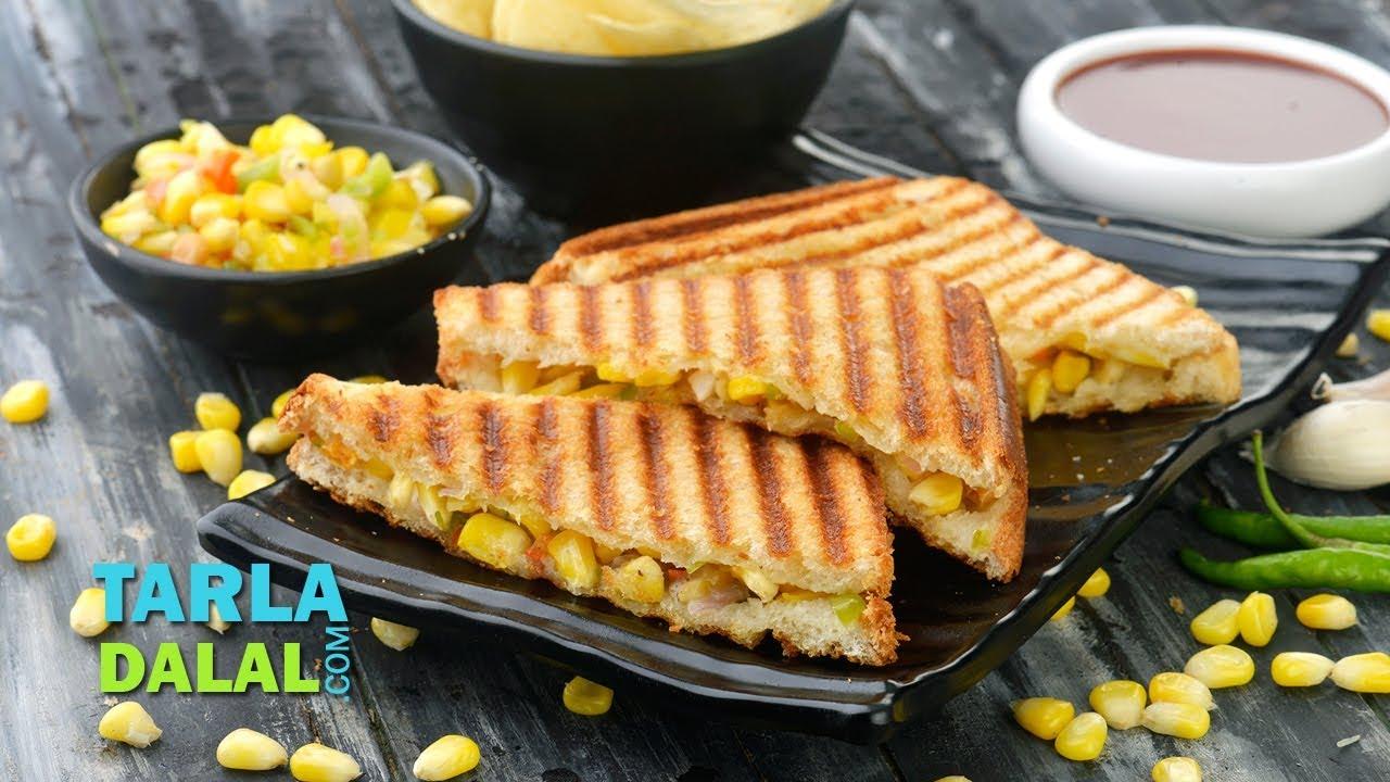 ग्रिल्ड कॉर्न और शिमला मिर्च की सैंडविच | Grilled Corn and Capsicum  Sandwich by Tarla Dalal
