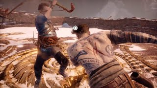 GOD OF WAR 4 (PS4) - Ultimate Father & Son Combo - Kratos & Atreus Vs Baldur Fight