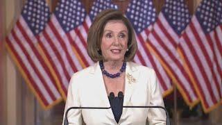 Nancy Pelosi delivers statement on Trump impeachment status
