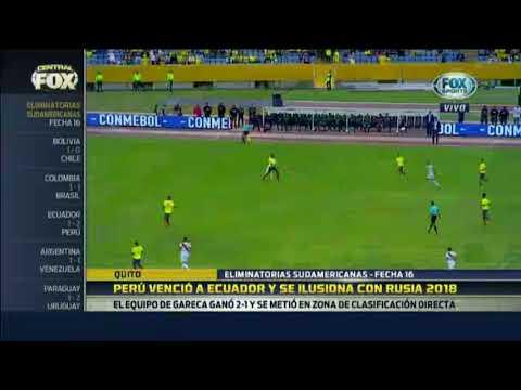 Asi informo Fox Sports Argentina sobre la victoria de Peru en Quito Fecha 16 2017.