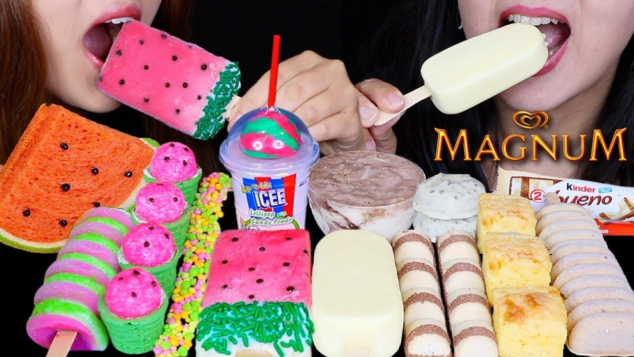 ASMR WATERMELON BREAD, WHITE CHOCOLATE MAGNUM ICE CREAM, CHEESECAKE, ICEE SOUR CANDY, NERDS ROPE 먹방