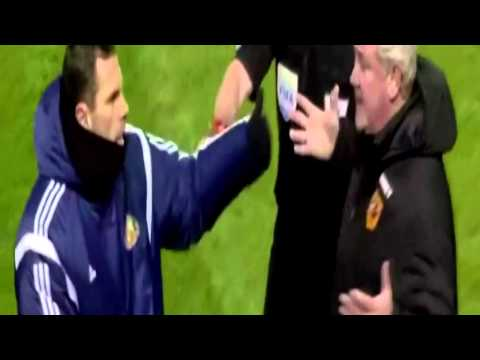 Gus Poyet and Steve Bruce FIGHT SCUFFLE after Poyet SENT OFF Hull vs Sunderland 1-1 HD