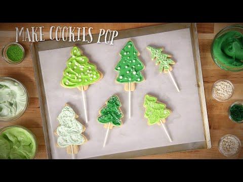 Christmas Tree Cookie Pops