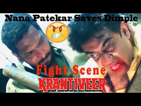 Nana Patekar Saves Dimple Fight Scene | Krantiveer Movie