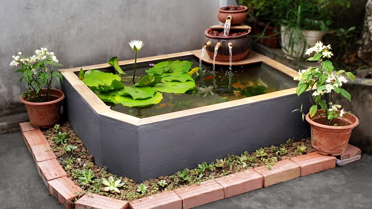 build a simple garden waterfall aquarium for your family
