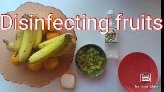 Disinfecting fruits/washing fruits to protect form corona virus/stay home stay safe