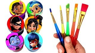 Drawing & Painting with Surprise Toys Miraculous Moana Vanellope Vampirina Shine Incredibles Violet