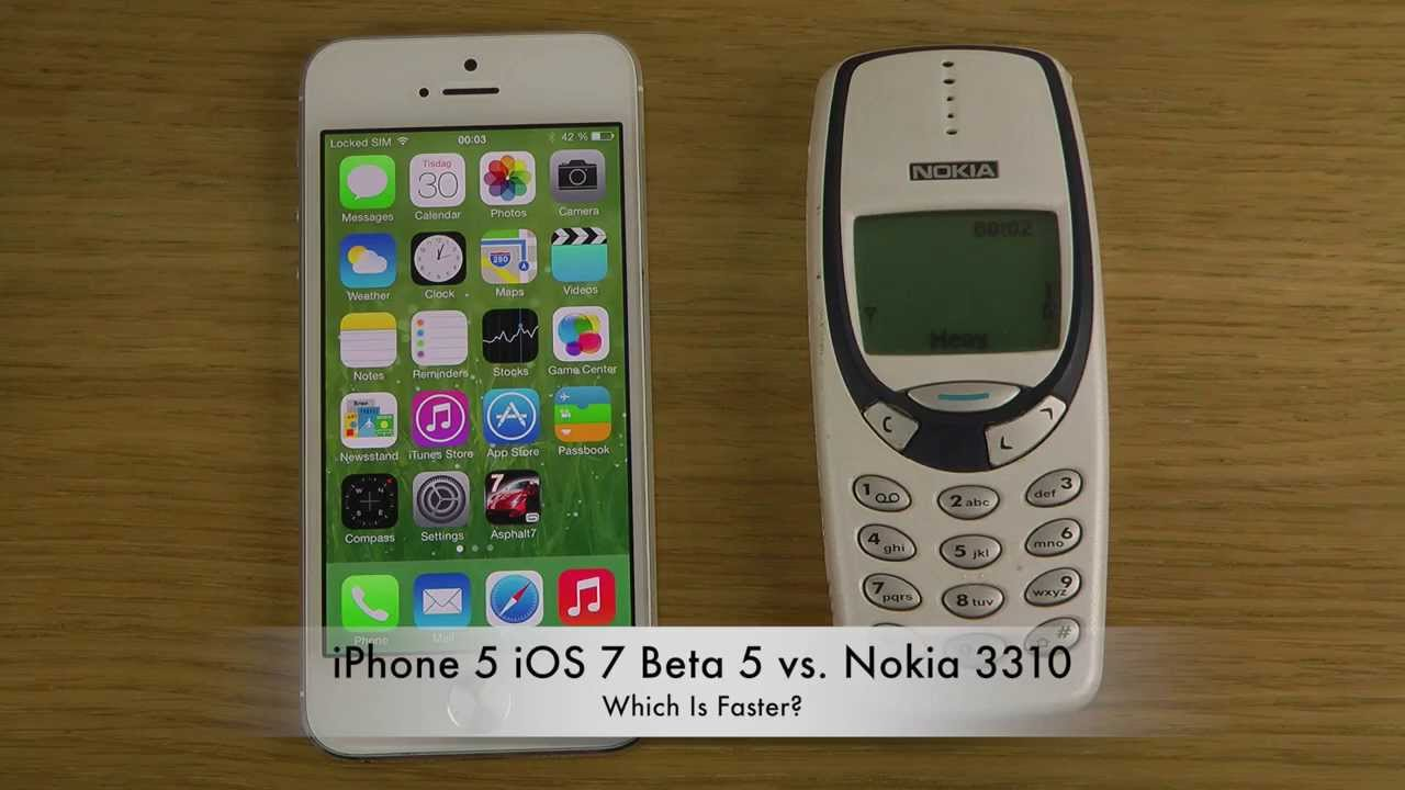 iphone 5 ios 7 beta 5 vs nokia 3310   which is faster