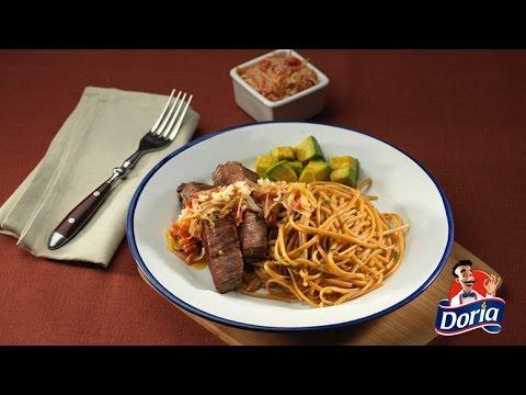 Spaghetti Doria sabor chorizo con sobrebarriga