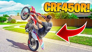 WHEELIEING THE MOST MODDED CRF450R EVER ! ( CRAZY POWER ) | BRAAP VLOGS