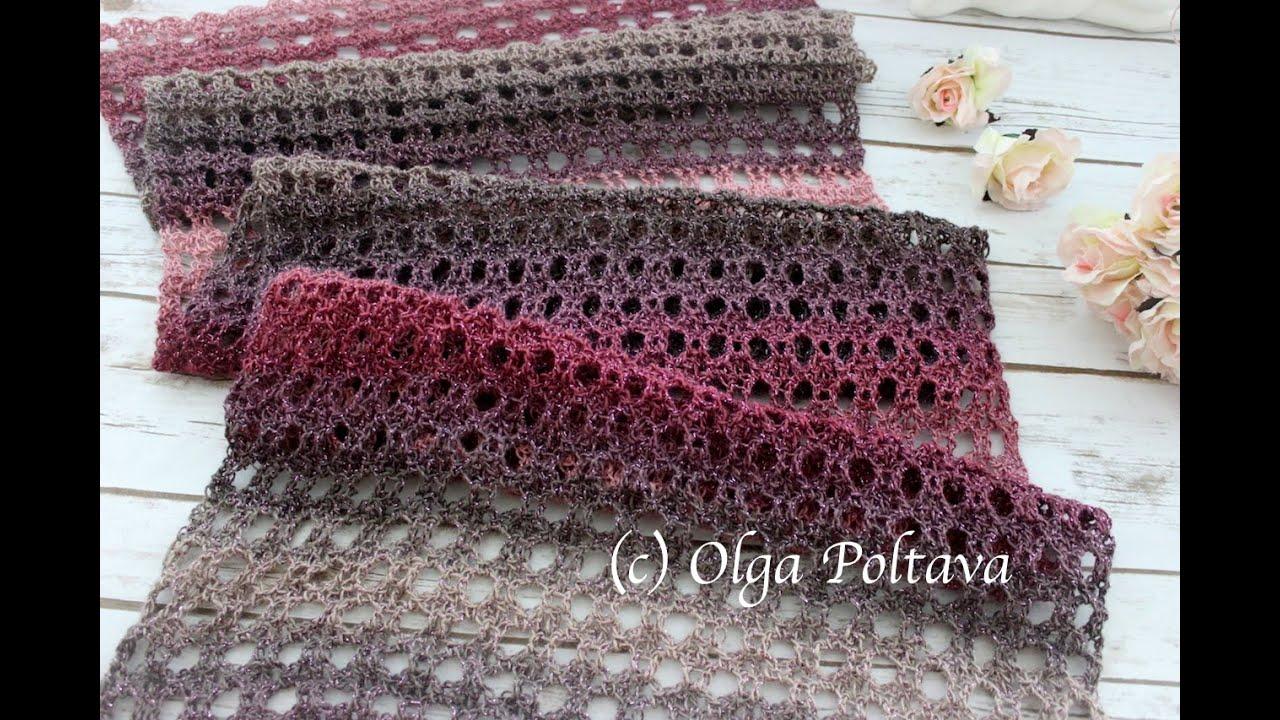 How to Crochet Easy Lacy Scarf, Shawl, Wrap, Bumbo Moonlight Yarn, Crochet Video Tutorial