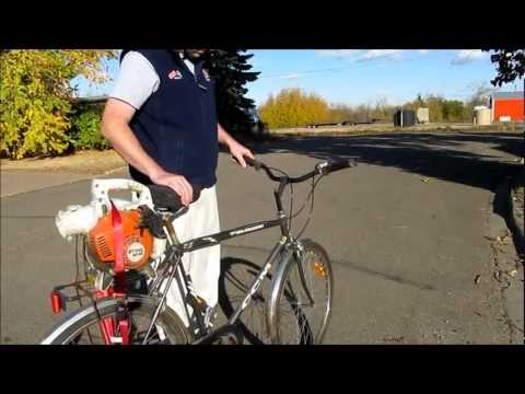 A dork and his leaf blower bike! Stihl BG 55