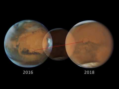 Hubble Space Telescope:   Mars and Saturn At Opposition