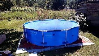 Каркасный бассейн BESTWAY на даче,  как установить, как почистить бассейн и обеззаразить воду