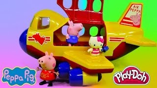 Peppa Pig's Jumbo Jet Flying Adventure Play Doh Hello Kitty Muddy Puddle Kids Toys